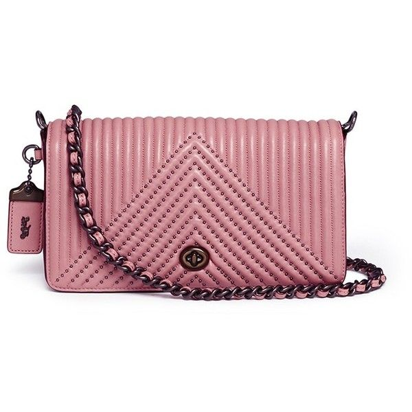 Coach  Dinky  rivet quilted leather crossbody bag (41.200 RUB) ❤ liked on 08bcce5560fc6