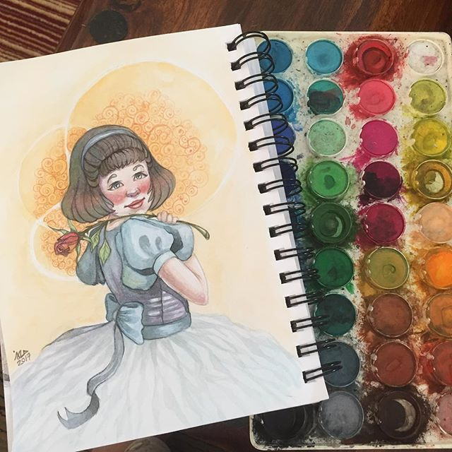 Little Princess! Most girls i guess while growing up probably were fascinated by princesses or grew up watching disney...this is an inspiration of that infulence. Although i'm too aware that the princess title is not as majestic as I once thought it to be...but i do still think frilly dresses are adorable. #watercolorpainting #watercolor #kidlitart #sketch #sketchbook #sketchoftheday #kidlitart2017 #pencil #figuredrawing #conceptart #conceptartist #pencildrawing #comic #comicbook…