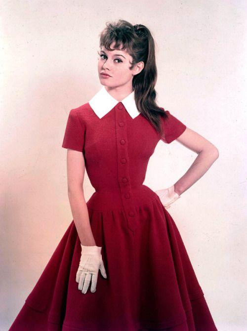 b2ea30f6cd64 Brigitte Bardot 1950s red day dress white tab collar full skirt short  sleeves prim school girl librarian office wasp waist button front