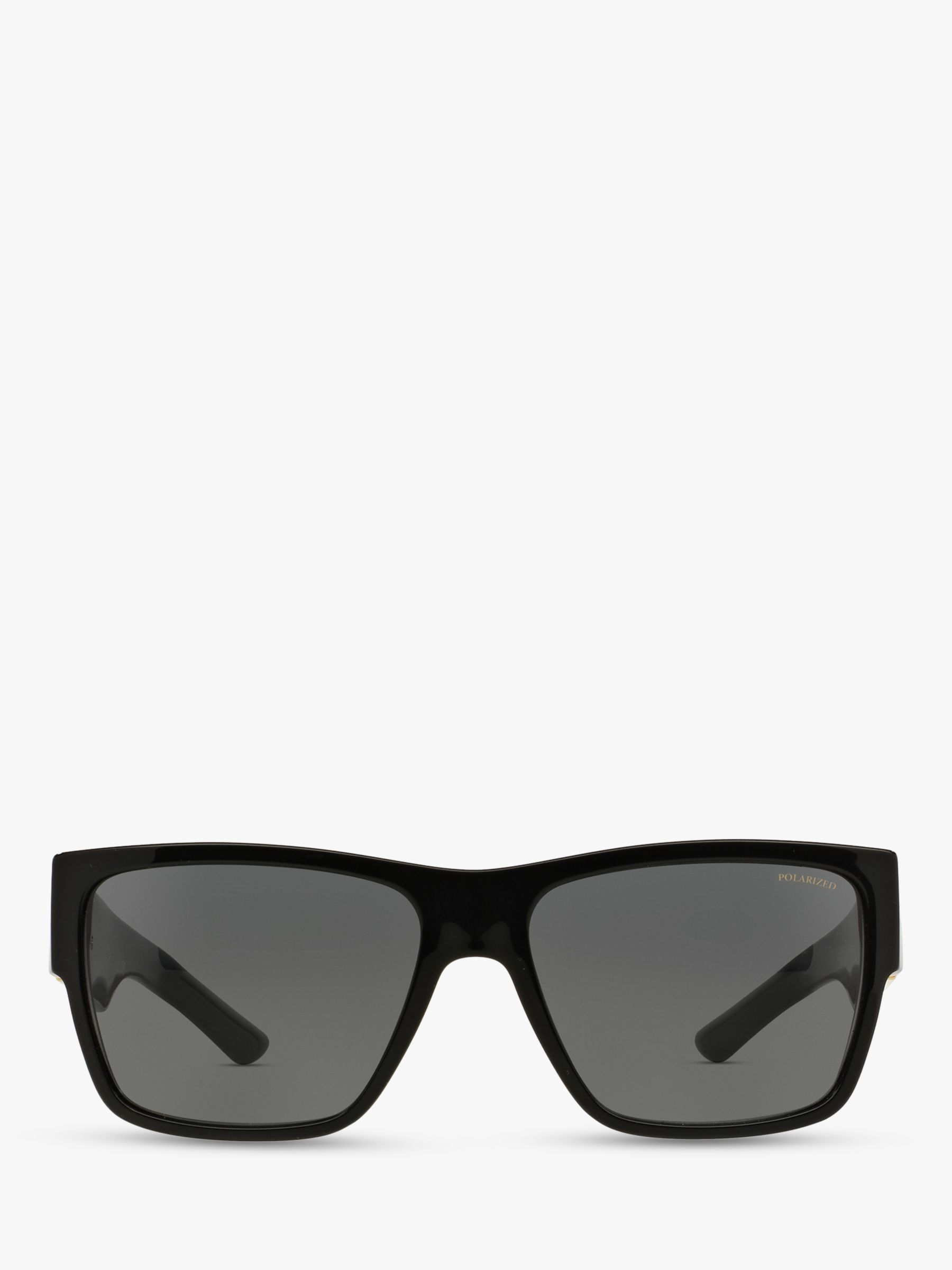 Versace VE4296 Men's Polarised Square Sunglasses, Black/Grey
