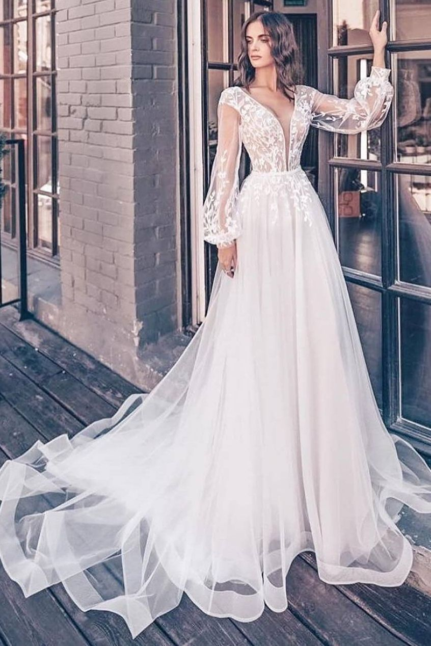 Balloon Sleeves V Neck Wedding Dress With Appliques Wedding Dress Sleeves V Neck Wedding Dress Wedding Dress Long Sleeve [ 1268 x 846 Pixel ]