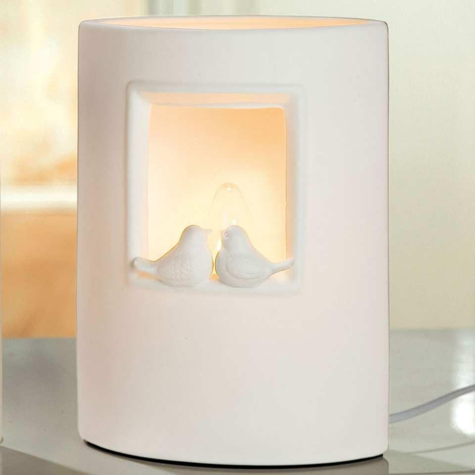 """Tischlampe """"Vogelpaar"""" aus Porzellan mit Schalter und Leuchtmittel ..."""
