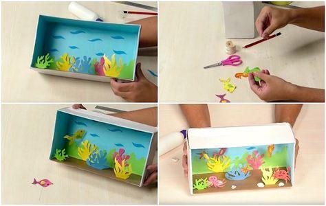 schuhkarton basteln kinder aquarium fische schnur algen fische pinterest kinder aquarium. Black Bedroom Furniture Sets. Home Design Ideas