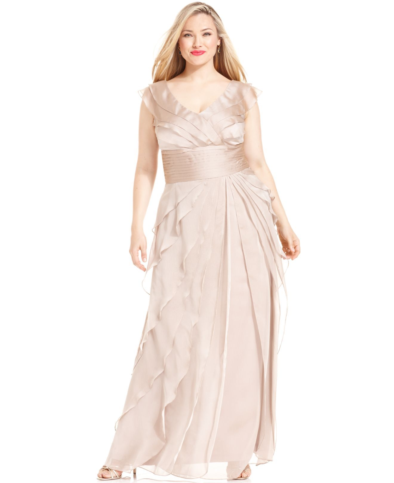 Adrianna Papell Plus Size Dress, Sleeveless Tiered Empire ...