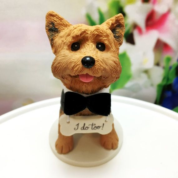 Yorkshire Terrier Yorkie Wedding Cake Topper, Custom