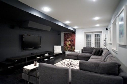 Dark wall grey floors family media room ideas but tile floors home decor pinterest - Best paint color for home theater ...