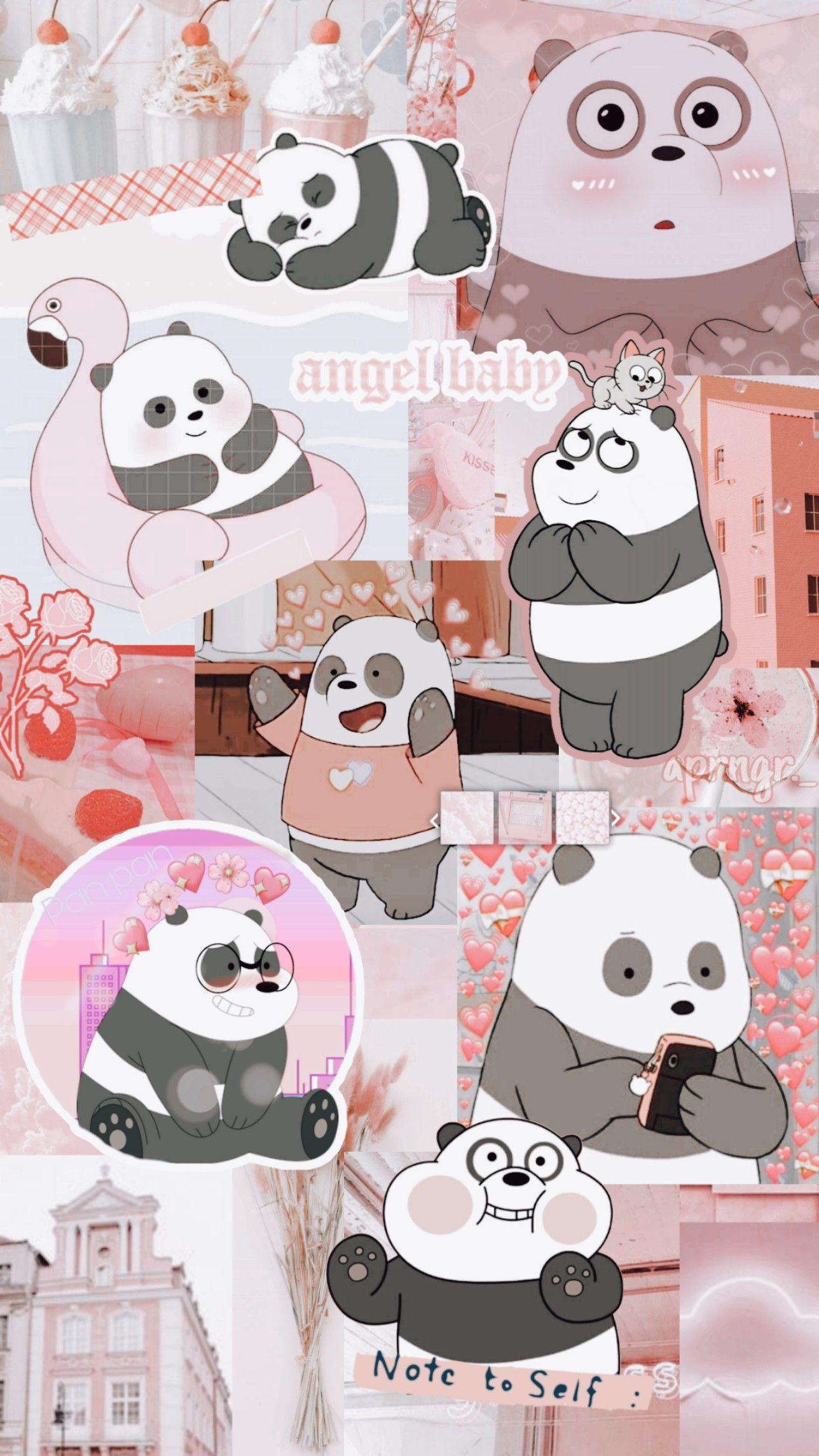 Background Aesthatic Webebear Panda Lockscreen Pink Wallpaper Cartoon Net Boneka Hewan Anak Binatang Seni Kartun