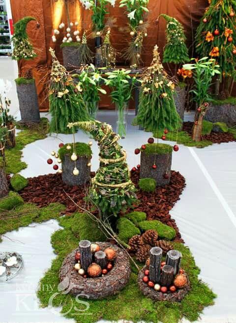 Natur Deko Advent Weihnachten Tanne Baumrinde Moos Deko