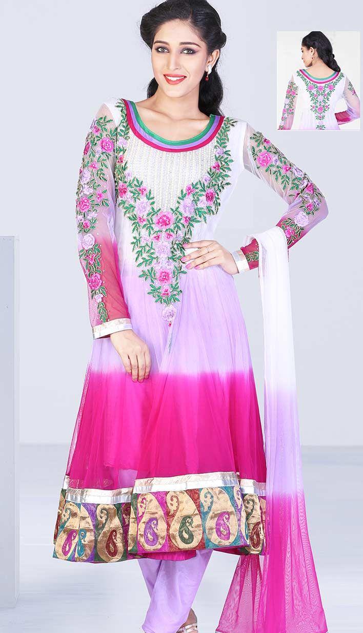 Buy Online Pakistani Designer Pink Nett Churidar Kameez Anarkali ...