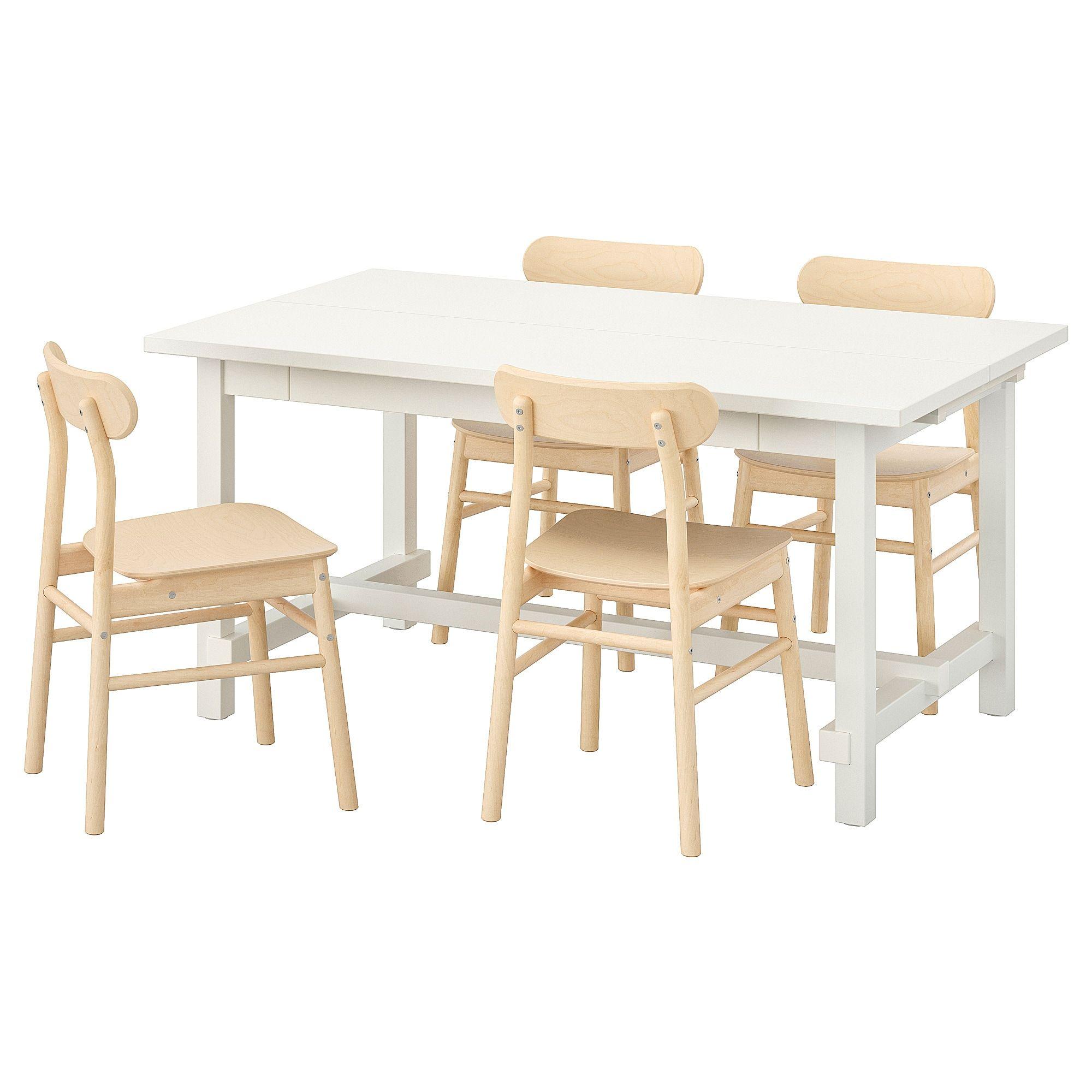 Nordviken Ronninge Tisch Und 4 Stuhle Weiss Birke Kuchentisch Und Stuhle Weisse Stuhle Esszimmertisch Holz