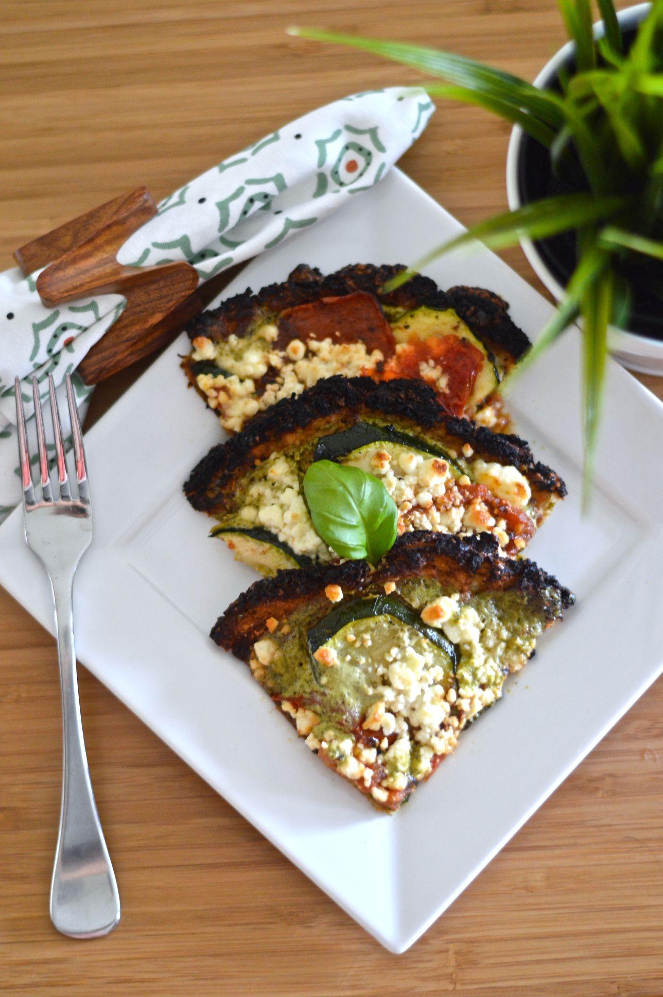 Cauliflower pizza with greek yogurt pesto. 230 kcal. Month 5 - week 4.