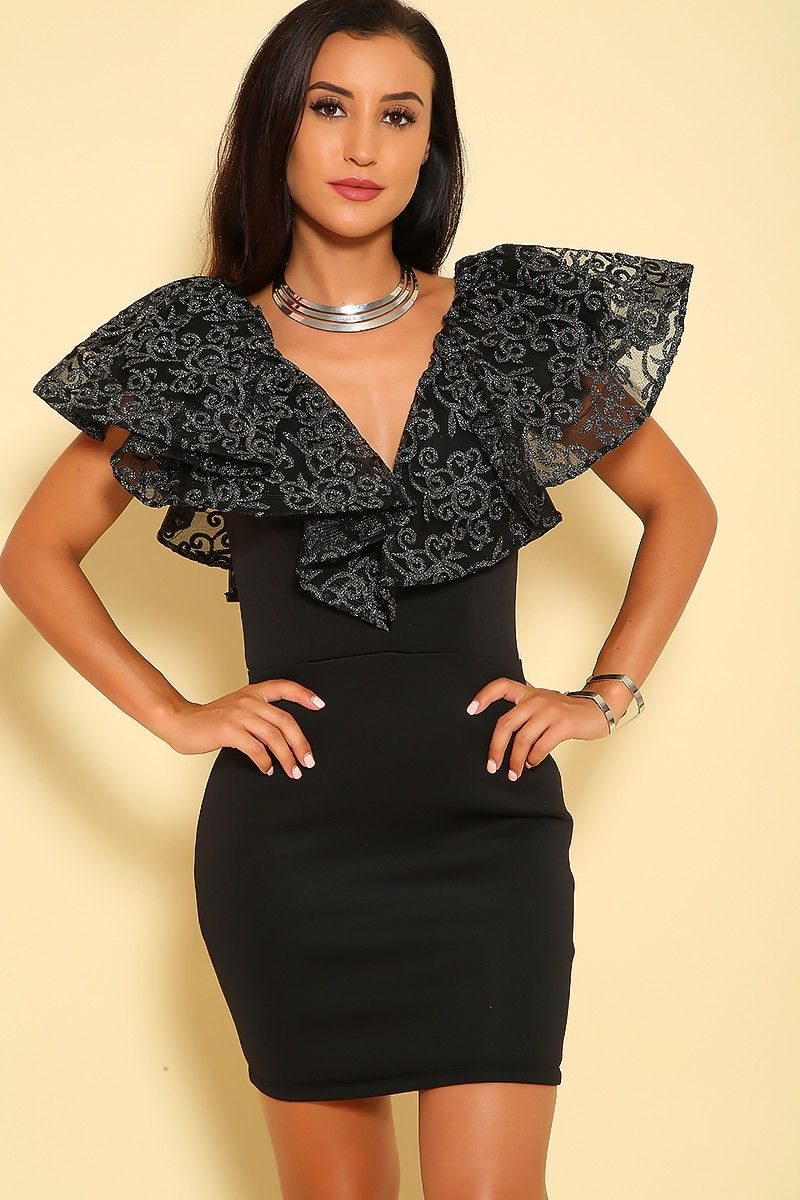 Sexy black sequin ruffle vcut short sleeve bodycon party dress