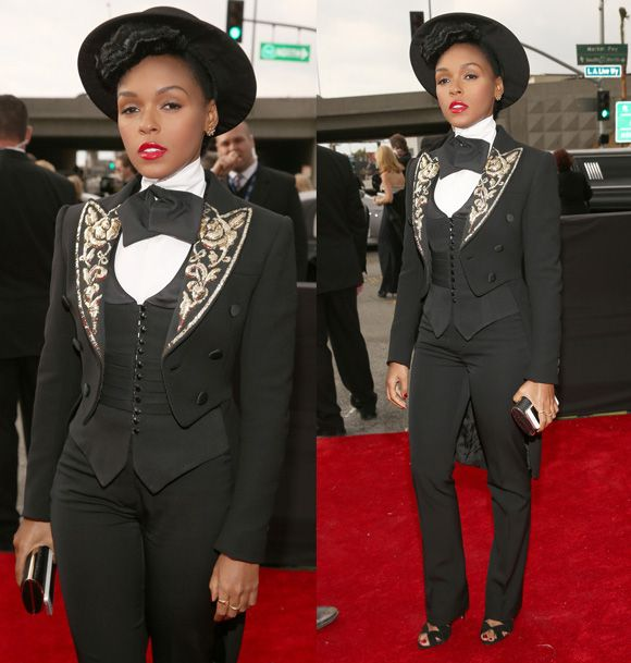Janelle Monae 2013 Grammys Red Carpet
