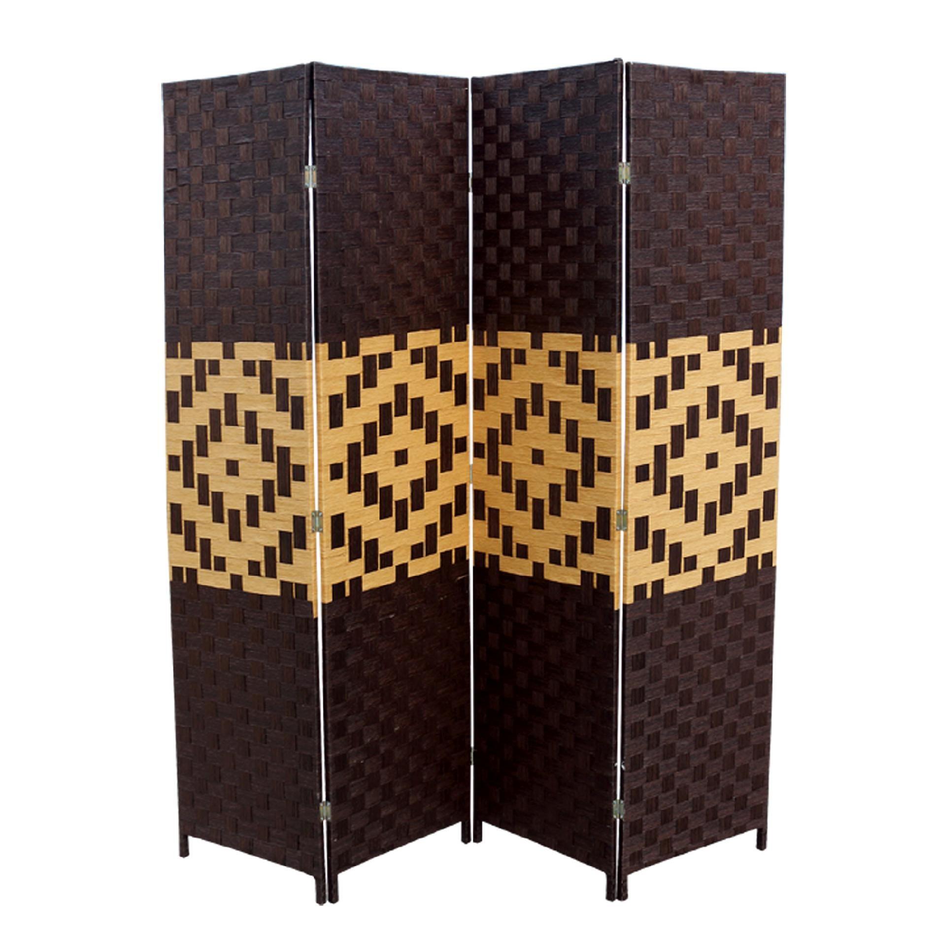 Ore International Espresso And Brown Paper Straw Weave Screen, Multi