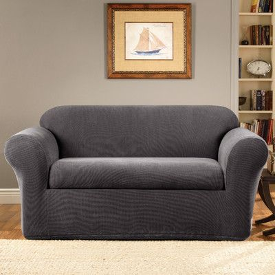Sure Fit Stretch Metro 2 Piece Box Cushion Loveseat Slipcover