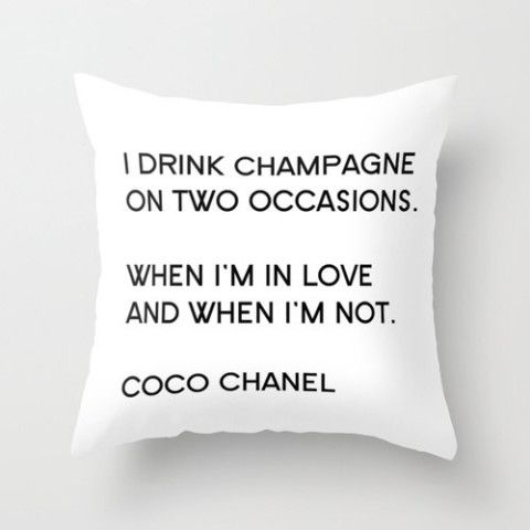 Velveteen Pillow - Coco Chanel - Quotes - Champagne - Typography - Fashion Pillo...
