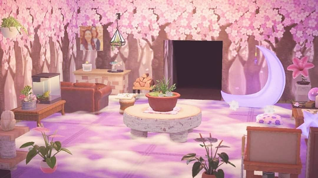 Updated My Living Room It S Got A Lot More Fairytale Witchy Vibes Now I Think I M A Cherry Blossom Wallpaper Animal Crossing Game New Animal Crossing