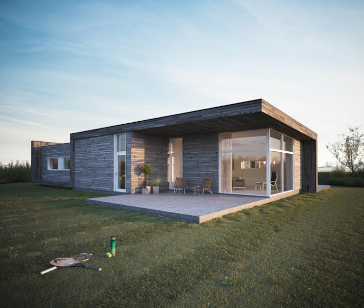 modernes fertighaus auf eine wohnebene bungalow architektur pinterest. Black Bedroom Furniture Sets. Home Design Ideas