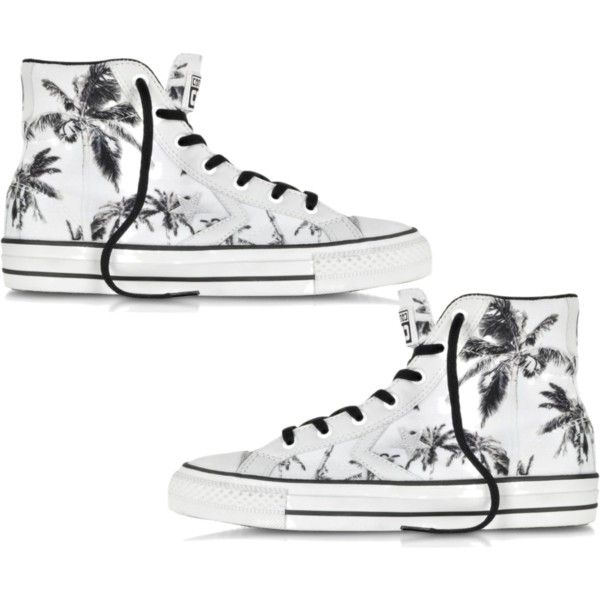 8da37a2cff6a Black And White Palm Tree Converse by kayleerosie365 on Polyvore featuring  Converse