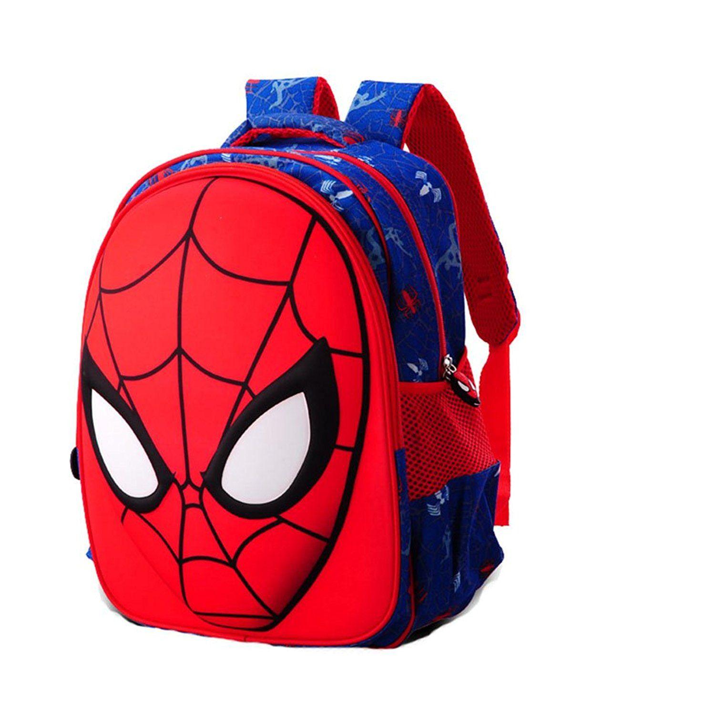 kids boys backpack elementary school book bag spiderman face