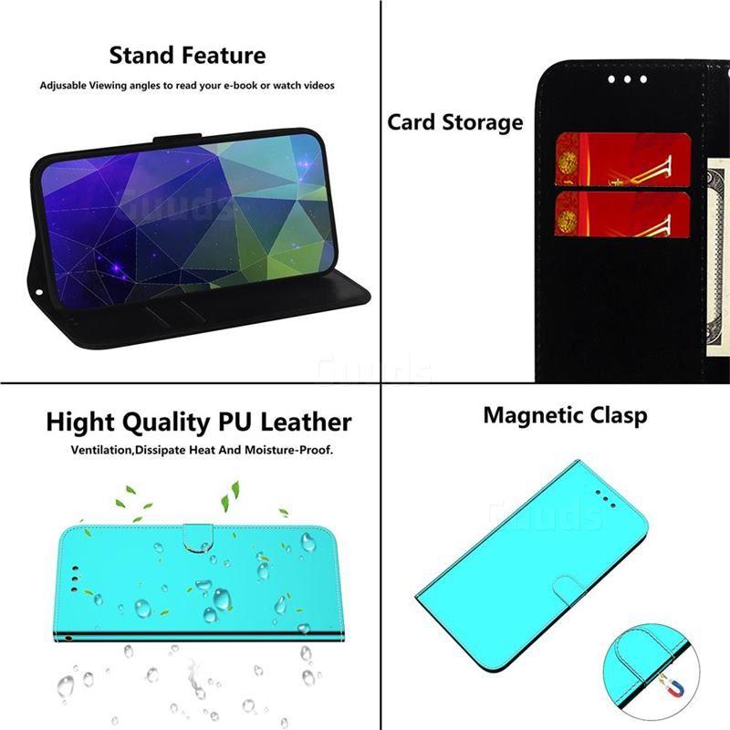 Shining Mirror Like Surface Leather Wallet Case For Mi Xiaomi Redmi Note 8 Pro Mint Green Xiaomi Redmi Note 8 Pro Cases Guuds Leather Wallet Case Leather Wallet Wallet Case