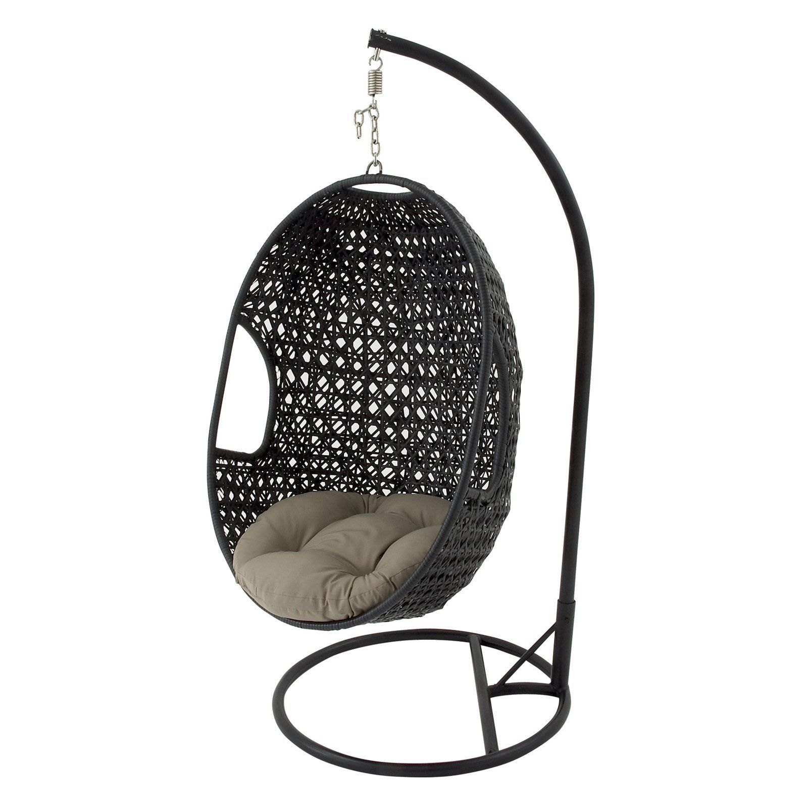 Outdoor decmode rattan hanging chair hammock with metal stand