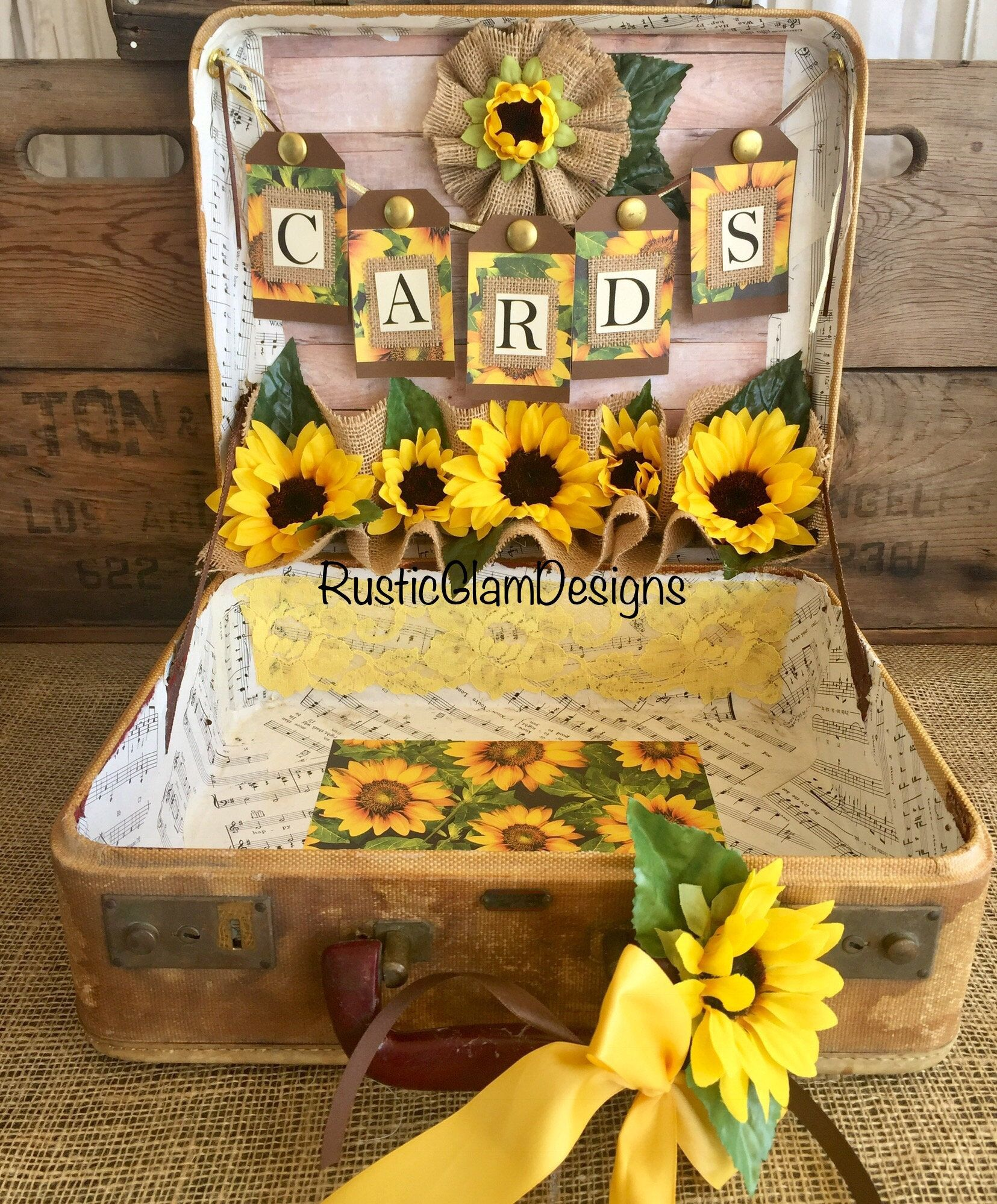 Vintage Suitcase Sunflower Wedding Card Holder Rustic Wedding Gift