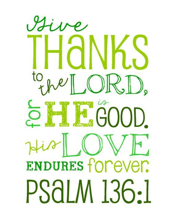 Give Thanks To The Lord   Psalms   Bible Verse Wall Art   Print   Green  Options