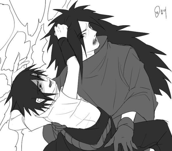 Sasuke and Madara are fighting over... Well, who knows? Credits to the respectful artist