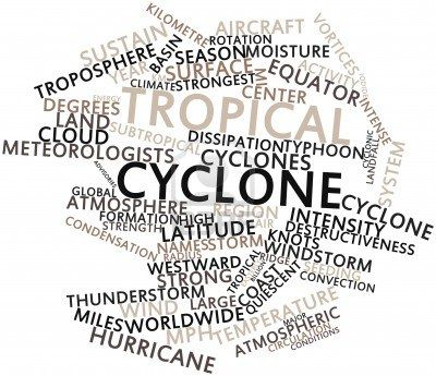 abstract word cloud for tropical cyclone with related tags and