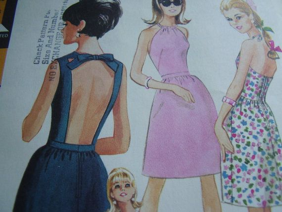 Vintage 1960\'s McCall\'s 8332 Halter Dress Sewing Pattern, Size 16 ...