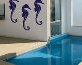 Vinyl Wall Art Decals Seahorse set of nautical majestic sea creatures Beach Home Decor