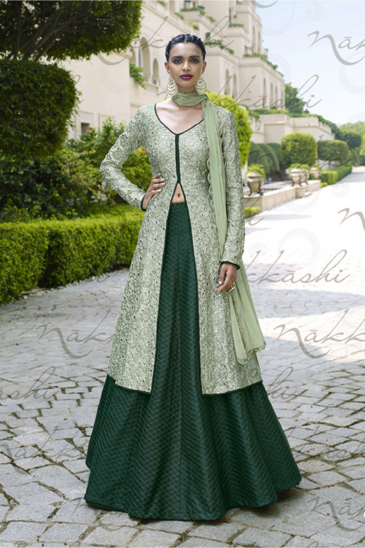 0e38e592f2 Buy Best price latest designer Nakkashi Mono Net and Santoon Designer Suit  In Green Colour online in india @Ninecolours.com! Cash on Delivery  Available!