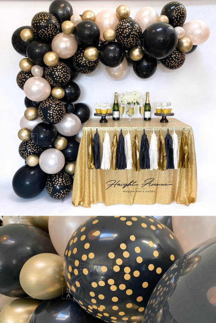 Happy New Year Diy Balloon Garland Kit Black Champagne And Gold