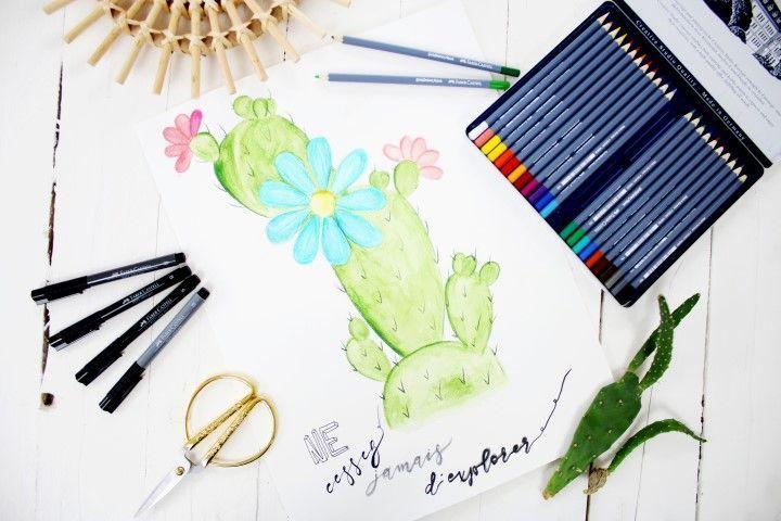 Diy Cactus Fleuri Aquarelle Aquarelle Tuto Aquarelle Et