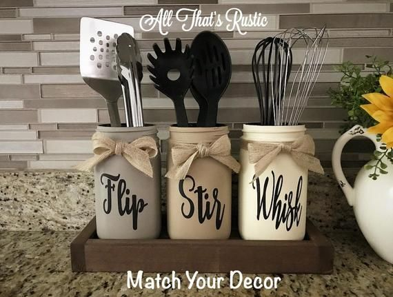 Flip, Stir, Whisk Utensil Holder, Mason Jar Decor, Kitchen Decor, Rustic Utensil Holder,Utensil Holder,Mason Jar Utensil Holder,Rustic Decor