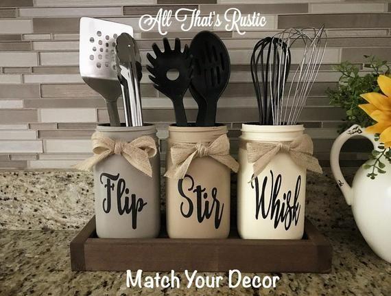 Flip, Stir, Whisk Utensil Holder, Mason Jar Decor, Kitchen Decor, Rustic Utensil Holder,Utensil Holder,Mason Jar Utensil Holder,Rustic Decor - #Decor #Flip #holder #HolderMason #HolderRustic #HolderUtensil #Jar #Kitchen #Mason #Rustic #rusticdecoration #Stir #Utensil #WHISK #masonjardecorating