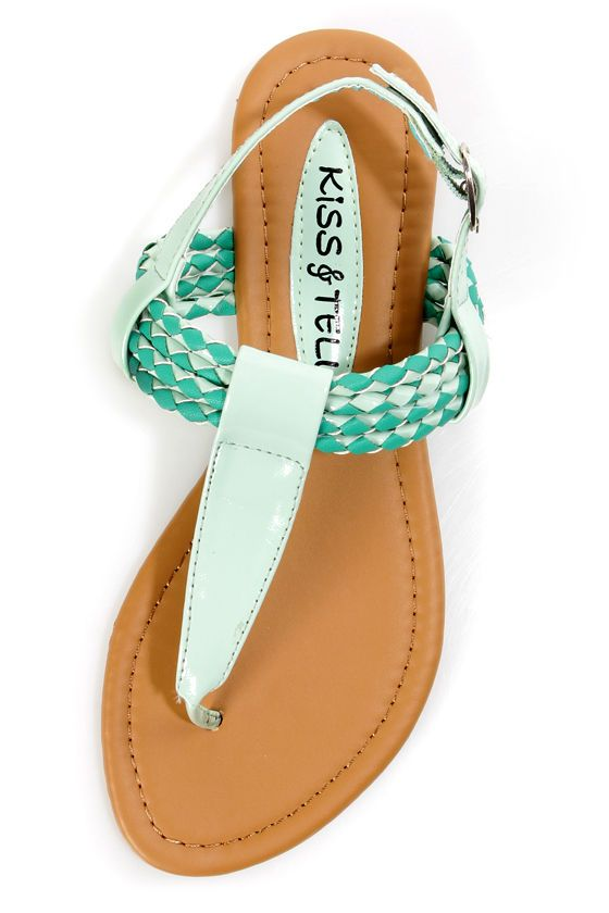 63380cf3f Aliza 17 Mint Green Patent Braided Thong Sandals