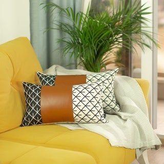 2 Piece Linden Decorative Lumbar Pillow Covers 12 X20 Abstract Ivory Leather Decorative Lumbar Pillows Pillows Lumbar Pillow Cover