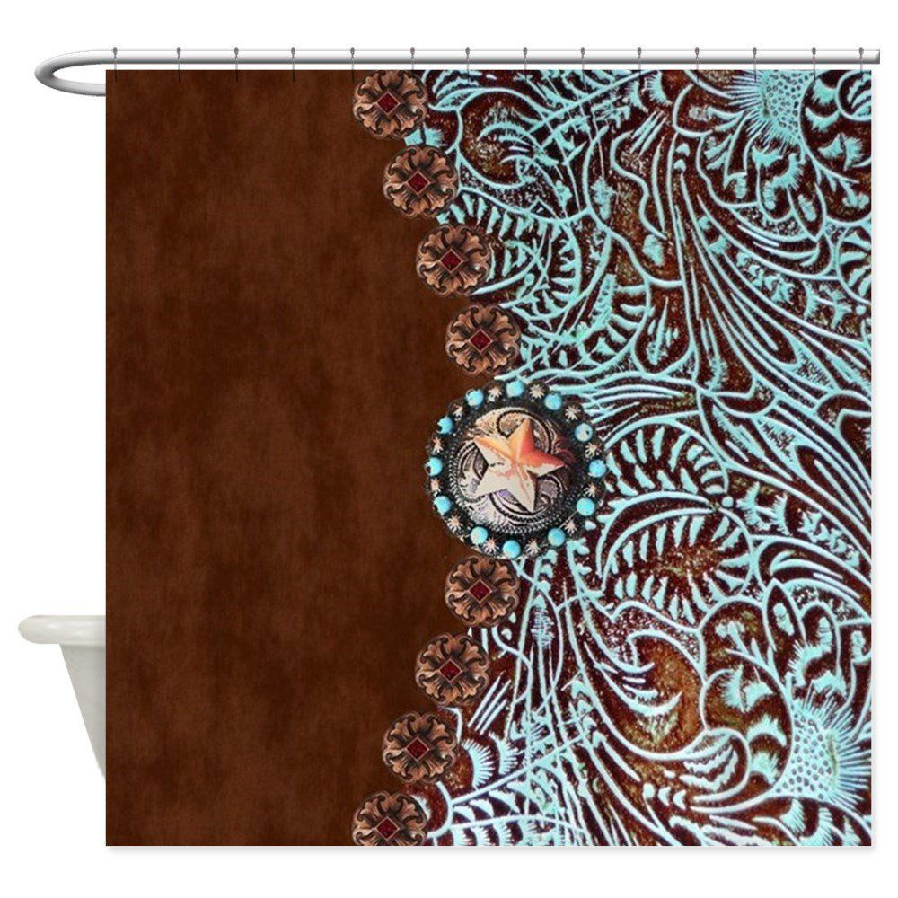 CafePress - Western Turquoise Tooled Leather - Decorative Fabric Shower Curtain | Fabric shower ...