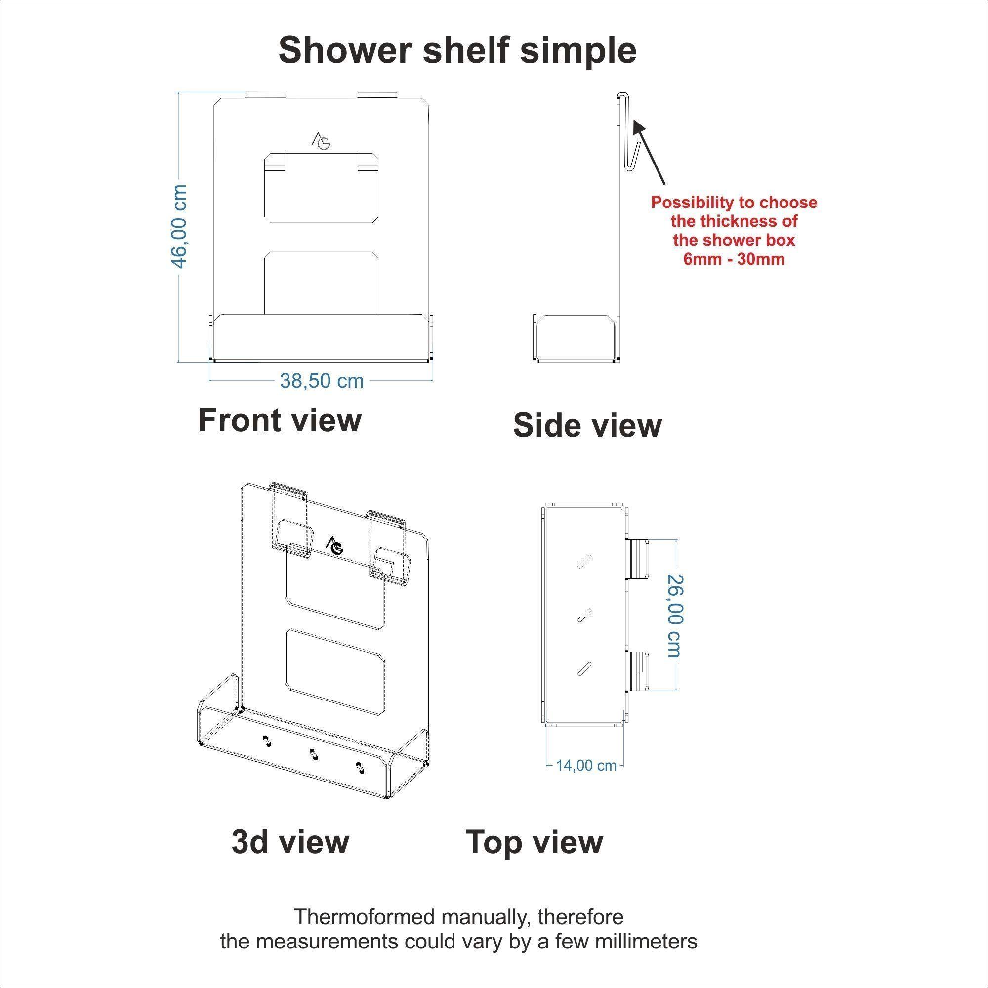 Portasapone doccia in plexiglass con 2 porta asciugamani