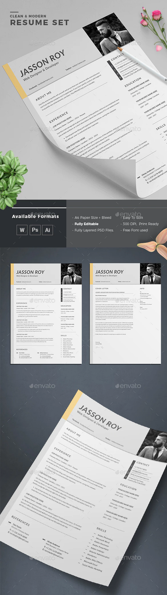 Cv Template For Word Resume design free, Resume design