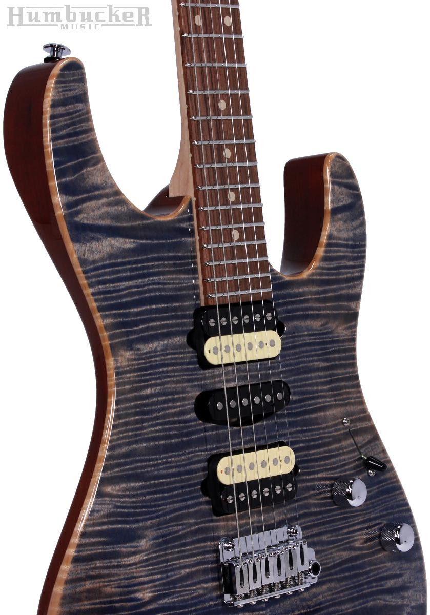 . Suhr Pro M7 Guitar - Swamp Ash - Trans Blue Denim Slate