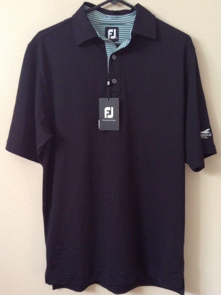 New Men's FootJoy FJ Golf Shirt Small SS Black Green White Striped ...