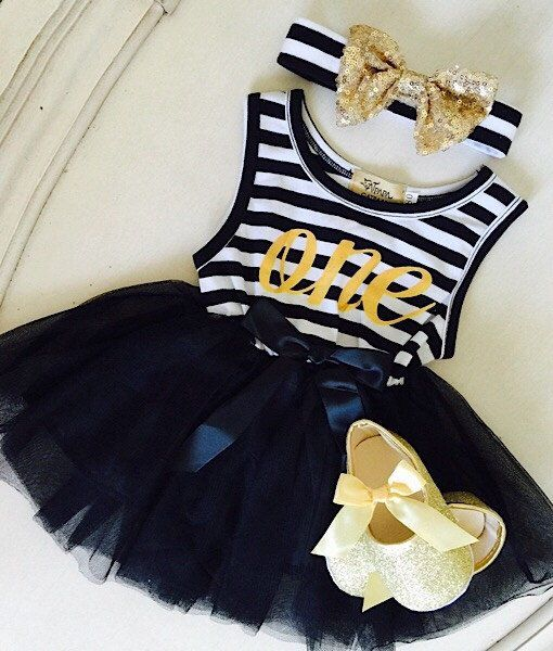 3d67a9a57fb90 3 pieces set Baby Girl black and white First Birthday outfit dress wit