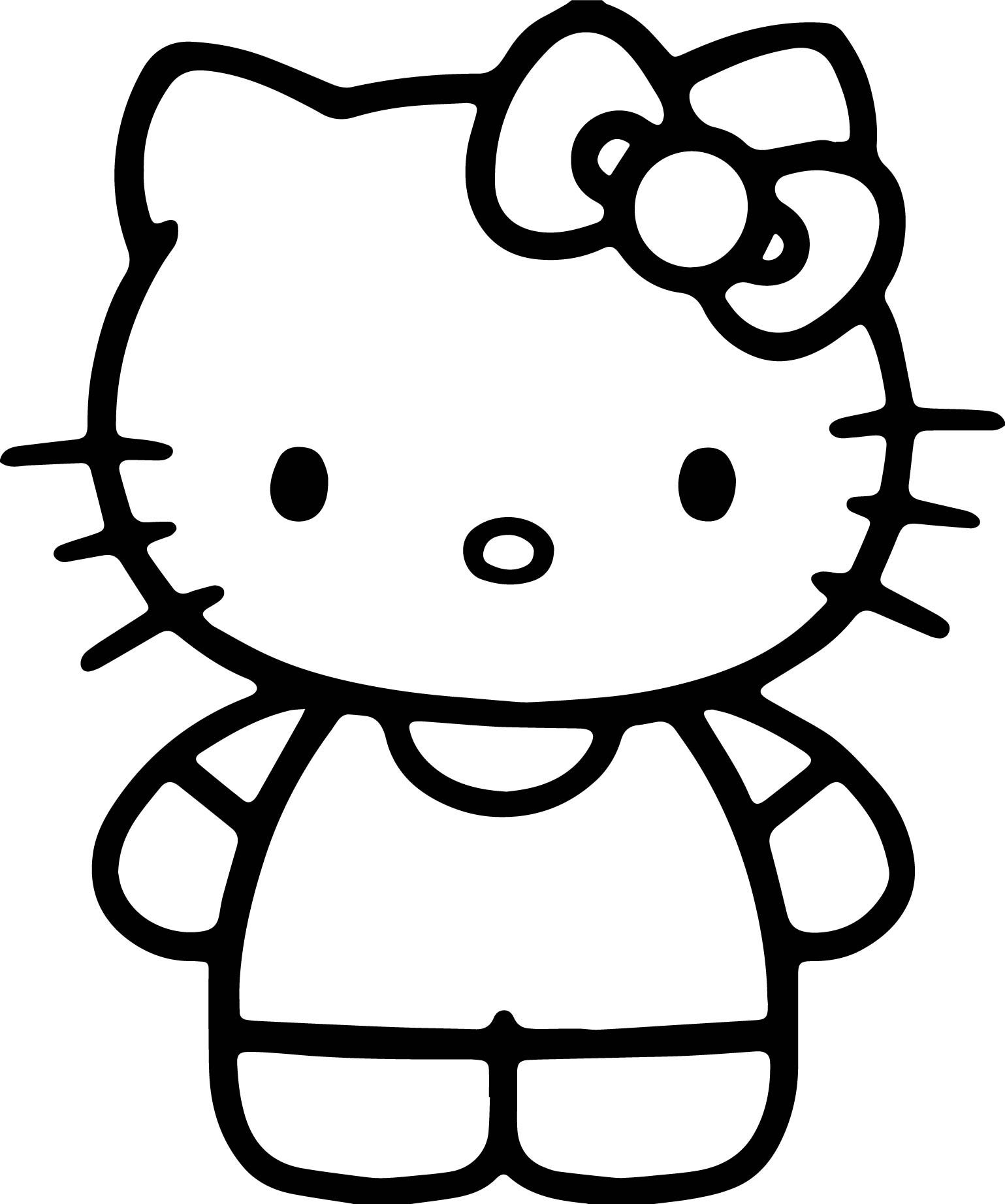 Nice Simple Hello Kitty Coloring Page