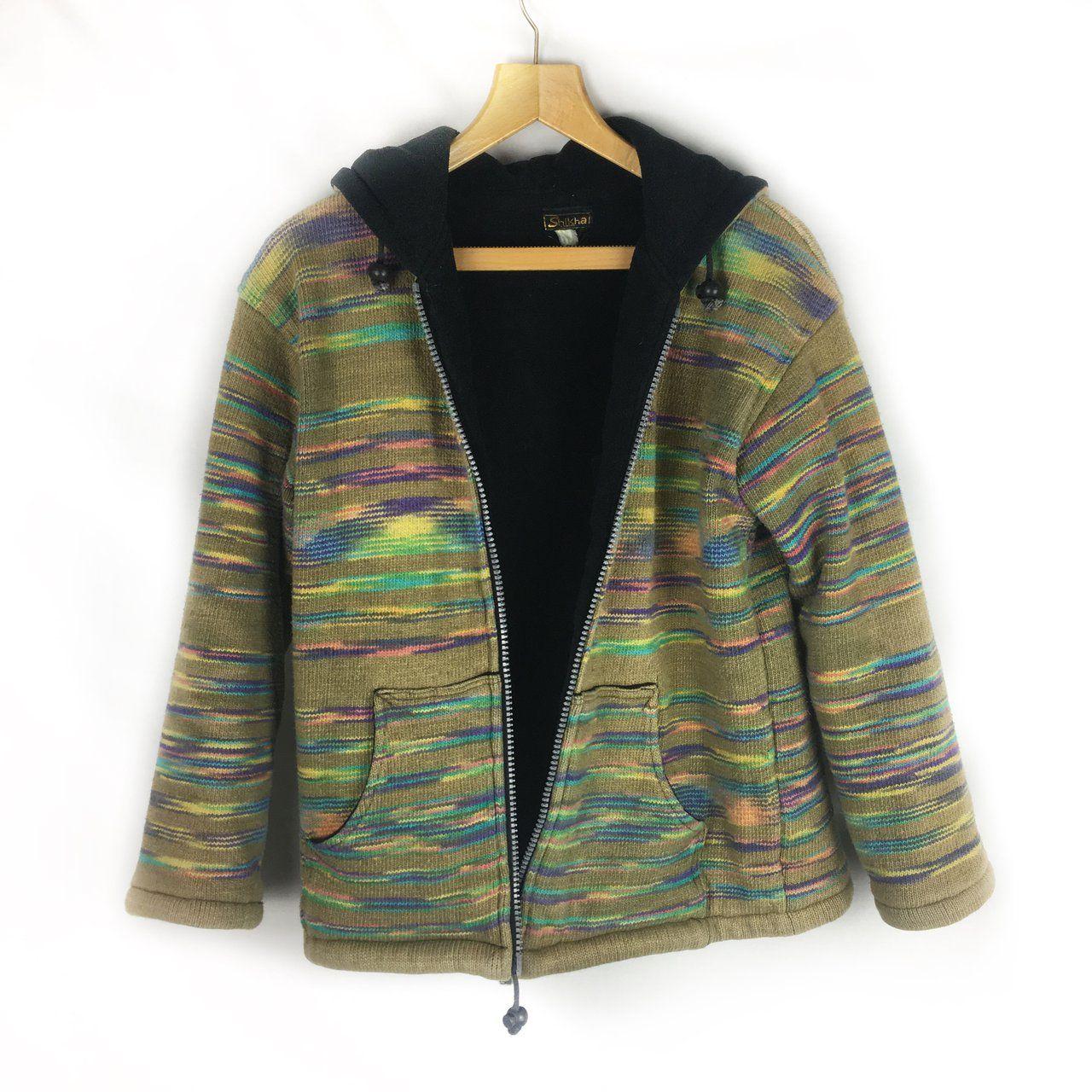 Such a beautiful hooded woven rainbow fleece u handmade thick