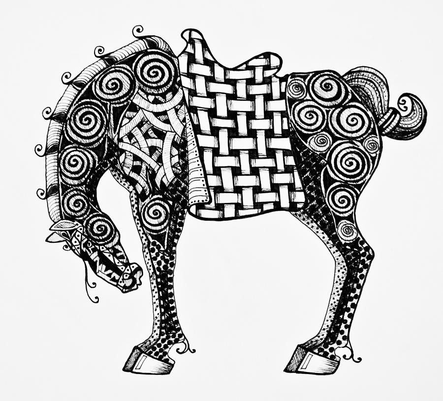 Coloring Pages Zentangle Animals : Chinese horse zentangle drawing