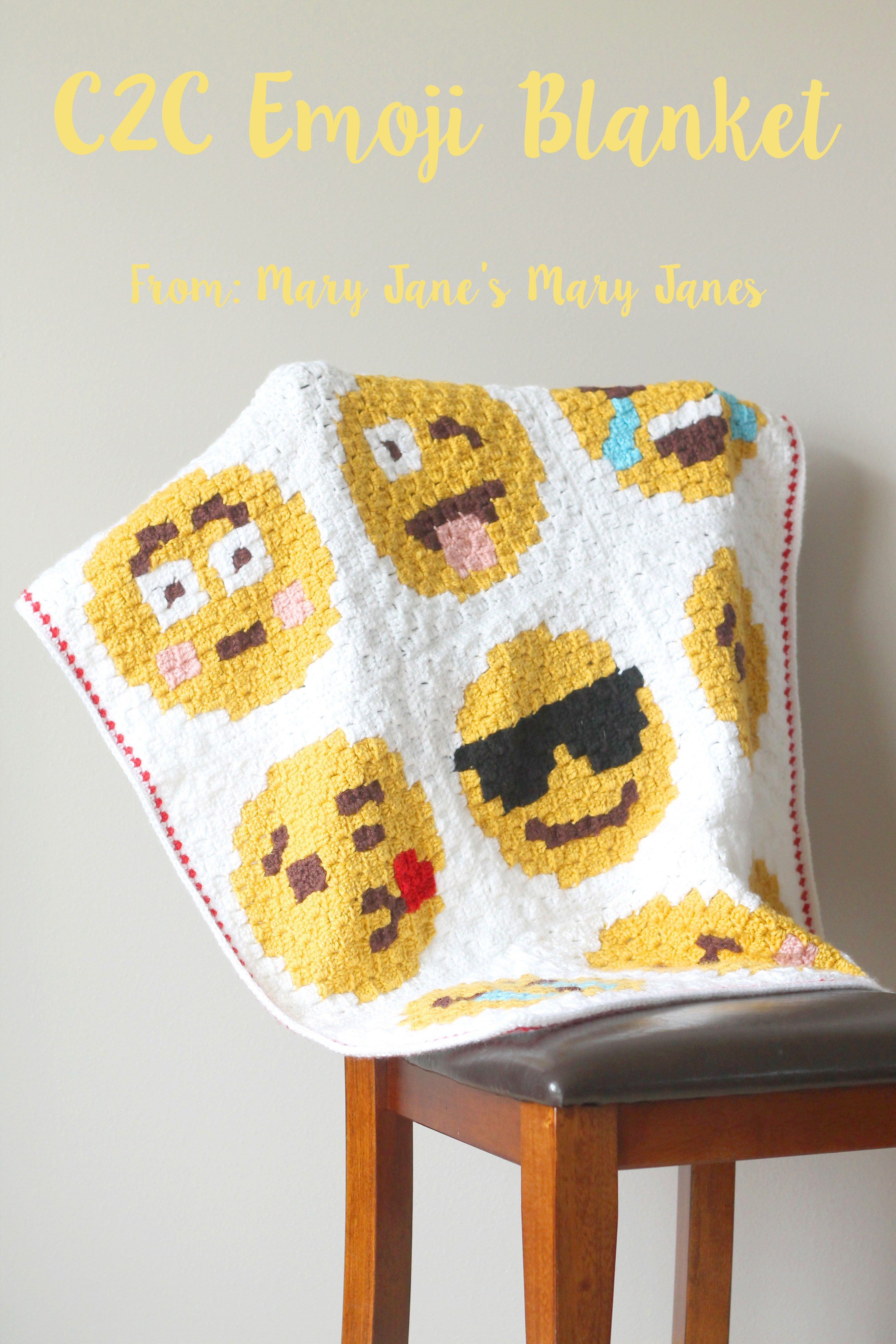 C2C Crocheted Emoji Blanket | Blankets, Throws, and Afghans ...
