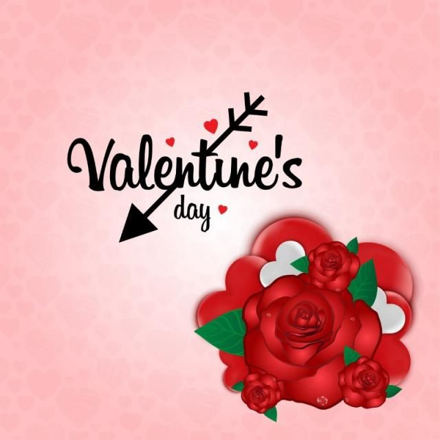 Valentine S Day Card With Pink Background And Red Roses Day